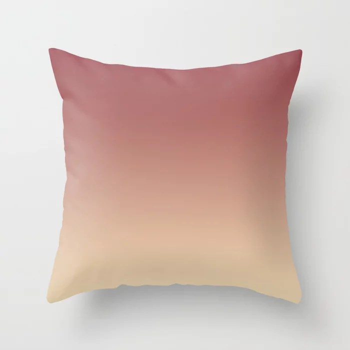 Red and Light Beige Gradient Ombre Fading Blend 2021 Color of the Year Passionate & Diamond Weave Throw Pillow