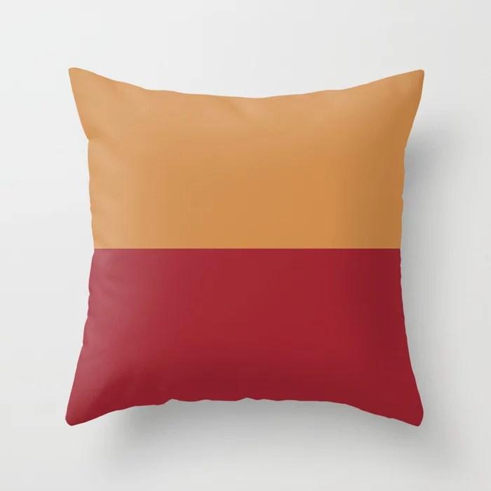 Red and Orange-Brown Minimal Line Pattern 2021 Color of the Year Satin Paprika & Satin Warm Caramel Throw Pillow