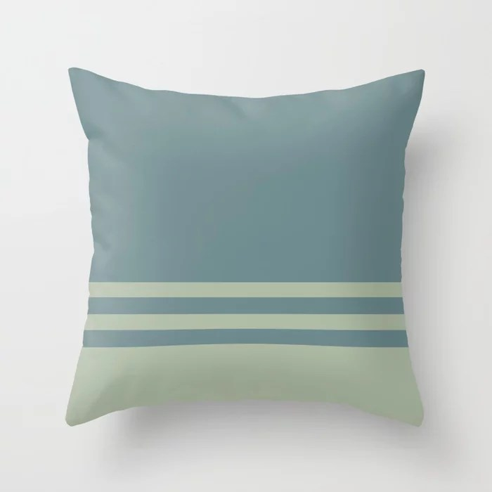 Blue-Green Green Horizontal Stripe Pattern 2021 Color of the Year Aegean Teal and Salisbury Green Throw Pillow