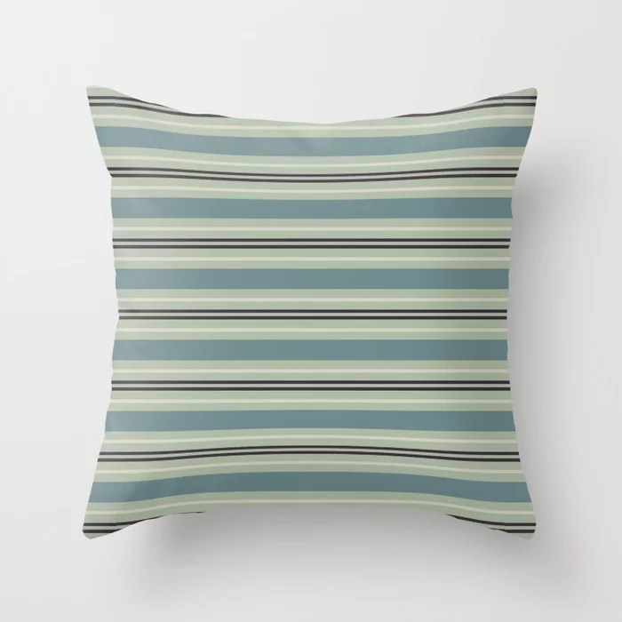 Blue-Green Beige Purple Horizontal Stripe Pattern 2021 Color of the Year Aegean Teal & Accent Shades Throw Pillow