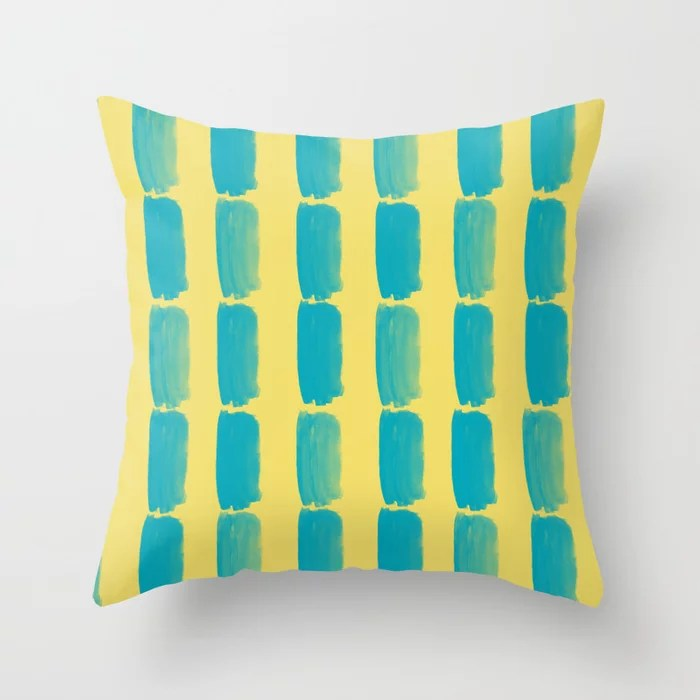 Aqua Blue and Yellow Grid Brushstroke Pattern 2021 Color of the Year AI Aqua and Lemon Sherbet Throw Pillow