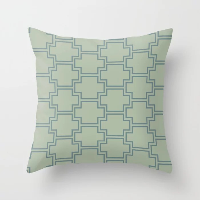 Blue-Green Green Line Pattern 2 Ornamental Box 2021 Color of the Year Aegean Teal Salisbury Green Throw Pillow