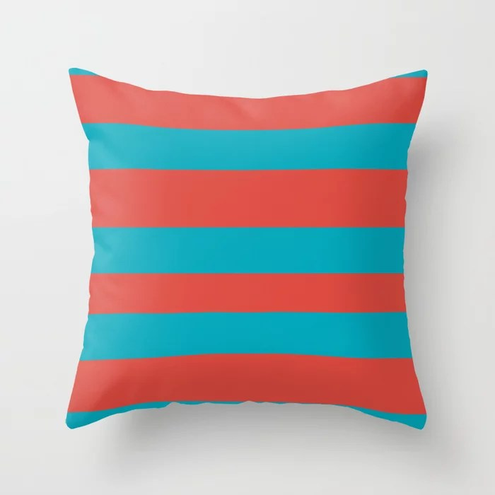 Aqua Blue and Red Wide Stripe Pattern 2021 Color of the Year AI Aqua and Oxy Fire Throw Pillow