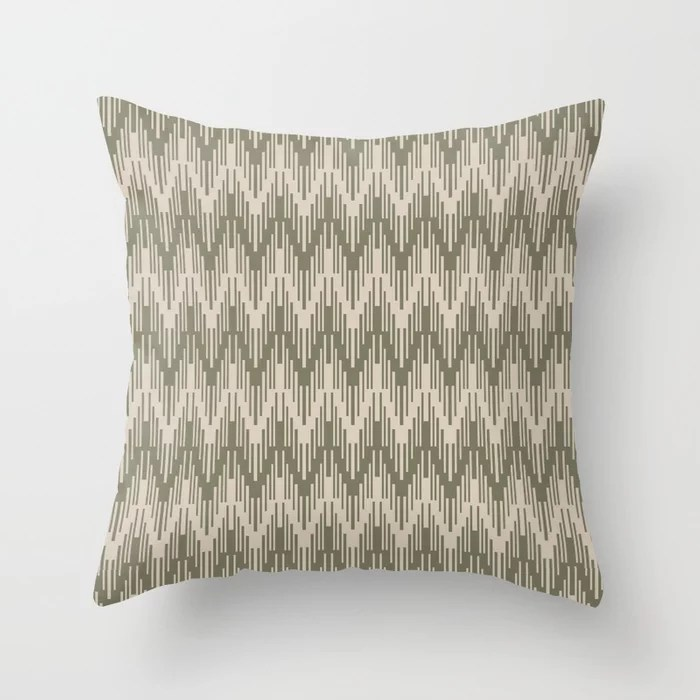 Light Beige Green Chevron Ripple Pattern: Hues were inspired by and match (pair / coordinate with) 2021 Color of the Year Uptown Ecru & Sage Throw Pillow