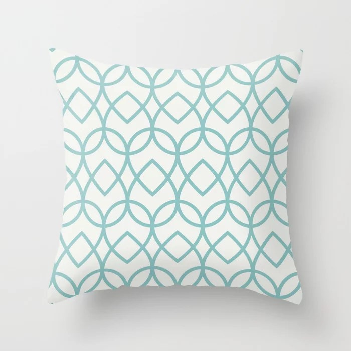 Pastel Teal and White Teardrop Line Pattern 2021 Color of the Year Aqua Fiesta & Delicate White Throw Pillow