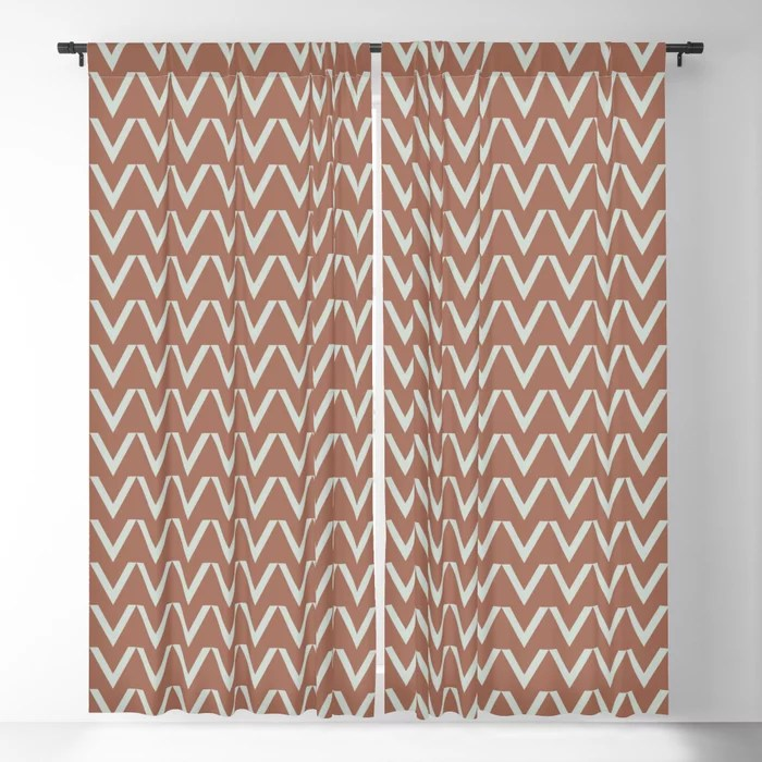 Mint Green and Terracotta Chevron Pattern Behr 2022 Color of the Year Breezeway MQ3-21 Blackout Curtain. Spring/Summer 2022 color forecast