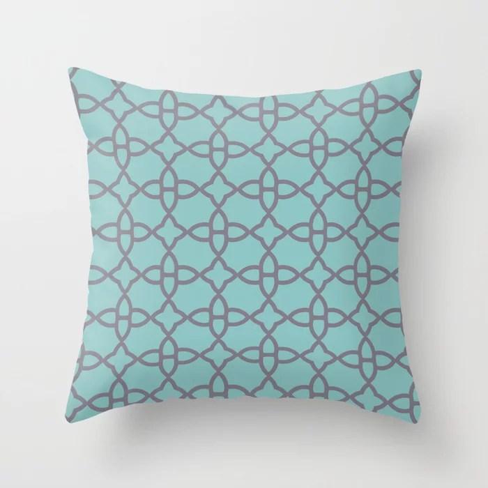 Aqua and Purple Minimal Line Art Pattern 4 V2 2021 Color of the Year Aqua Fiesta and Magic Dust Throw Pillow