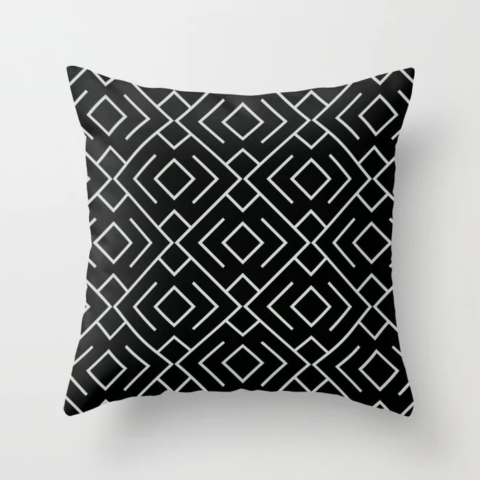 Pastel Green and Black Shape Mosaic Pattern 4 Pairs Behr 2022 Color of the Year Breezeway MQ3-21 Throw Pillow. 2022 color scheme, trending interior design hue.