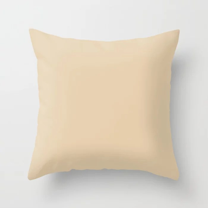Naturally Neutral Dark Cream Solid Throw Pillow Matches Sherwin Williams Paint Hue Ivoire SW 6127