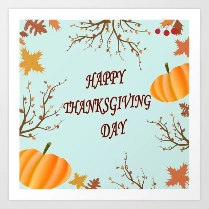 Happy Thanksgiving day postcard Art Print by thebutterfly | Society6