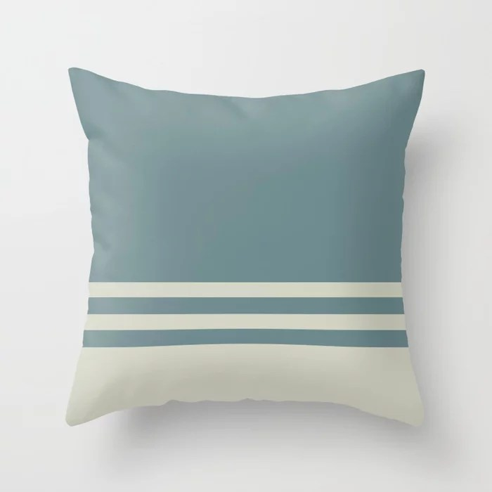 Blue-Green Beige Horizontal Stripe Pattern 2021 Color of the Year Aegean Teal and Sweet Spring Throw Pillow