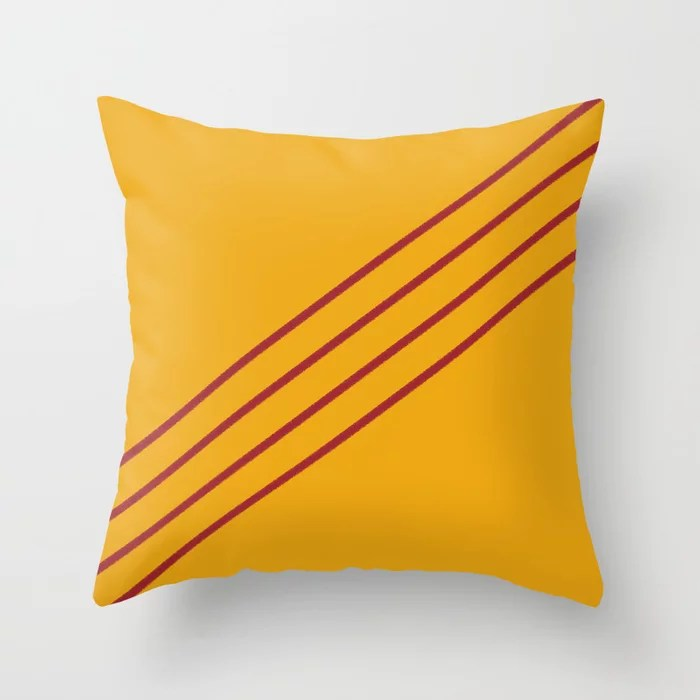 Orange and Red Angled 4 Stripe Pattern Rustoleum 2021 Color of the Year Satin Paprika Harvest Peach Throw Pillow
