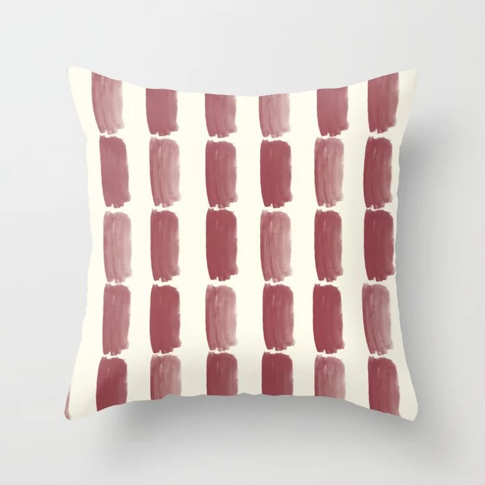 Red and Off White Grid Brushstroke Pattern 2021 Color of the Year Passionate & Bohemian Lace Throw Pillow