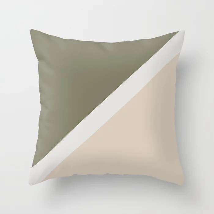 Light Beige White Green Minimal Stripe Design: Hues were inspired by and match (pair / coordinate with) 2021 Color of the Year Uptown Ecru and Sage Throw Pillow