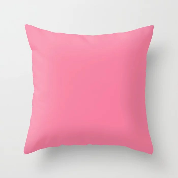From The Crayon Box – Pink Sherbet - Bright Pink Solid Color Throw Pillow