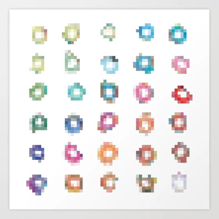 Sunday's Society6   Pixel art diamonds art print