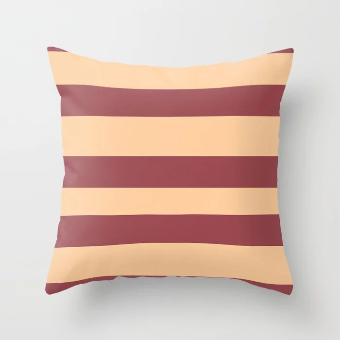 Red and Peach Wide Horizontal Stripe Pattern 2021 Color of the Year Passionate and Pale Apricot Throw Pillow