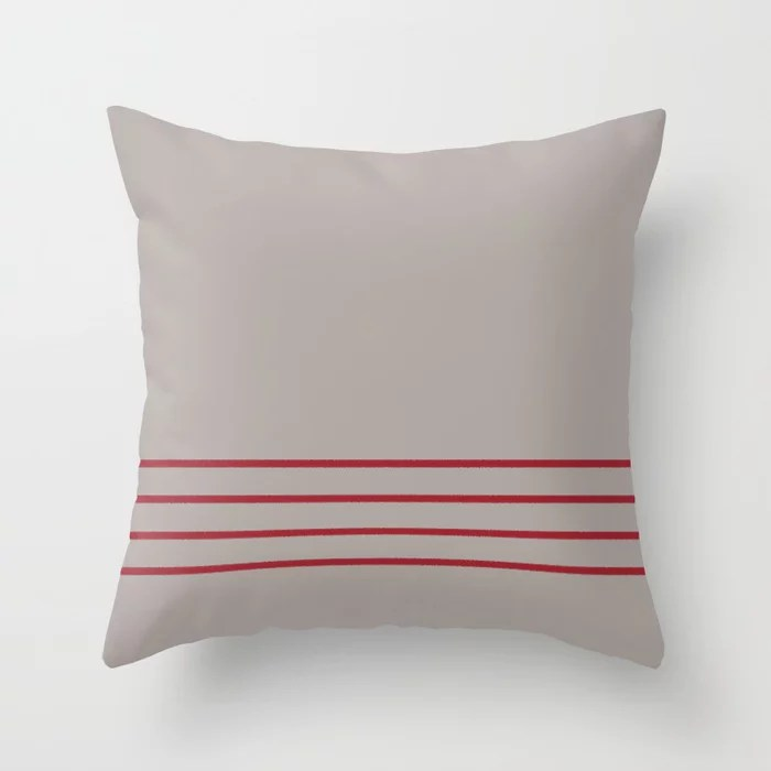 Grey and Red Thin 4 Stripe Pattern 2021 Color of the Year Satin Paprika and Satin Driftwood Throw Pillow