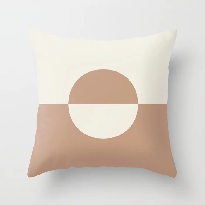 Sand Storm Beige Cream White Circle Design 2 Behr 2021 Color of the Year Canyon Dusk Swiss Coffee Throw Pillow