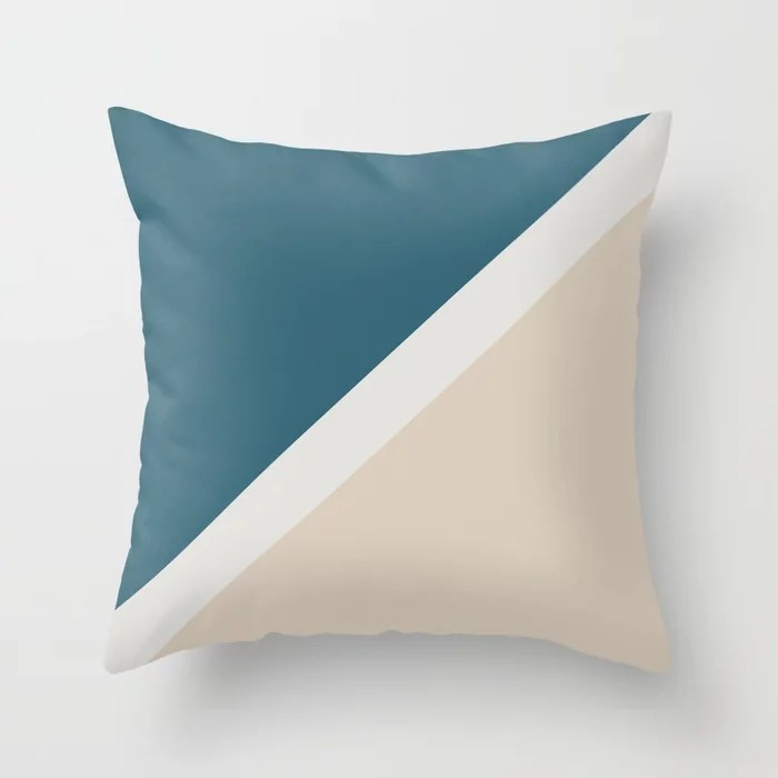 Light Beige Aqua Blue Minimal Stripe Design: Hues were inspired by and match (pair / coordinate with) 2021 Color of the Year Uptown Ecru & Accent Shade Throw Pillow
