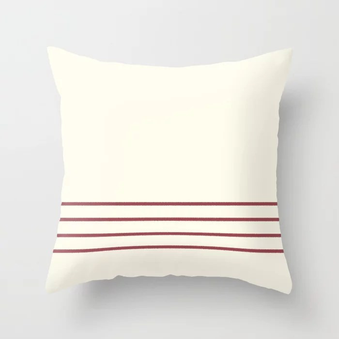 Red and Off-White Minimal Thin Line Pattern 2021 Color of the Year Passionate and Bohemian Lace Throw Pillow