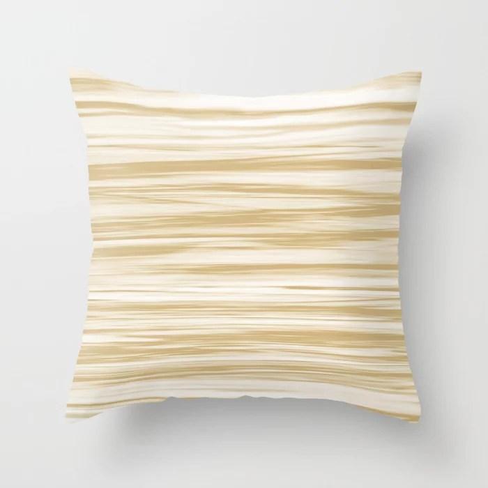 Beige Soft Focus Motion Watercolor Blend Stripes Rustoleum Sunlit Brass (beige) Throw Pillow