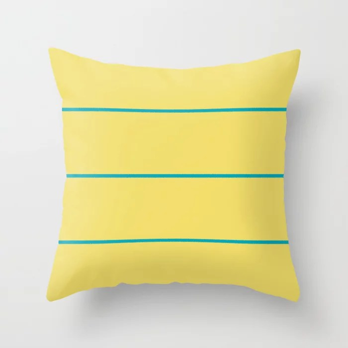 Blue-Green Yellow Sponge Paint Stripe Pattern V3 2021 Color of the Year AI Aqua 098-59-30 Throw Pillow