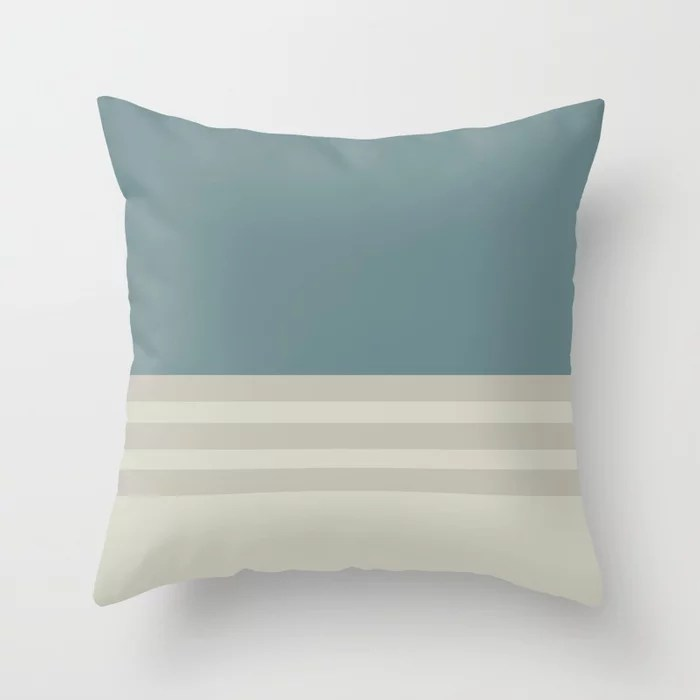 Blue-Green Beige Tan Horizontal Stripe Pattern 2021 Color of the Year Aegean Teal and Accent Shades Throw Pillow