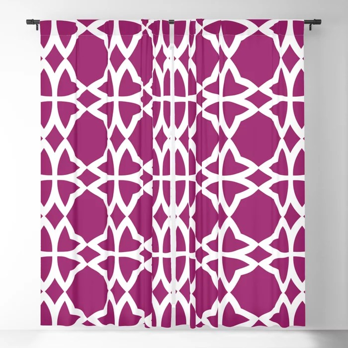 Magenta and White Symmetrical Flower Pattern - Colour of the Year 2022 Orchid Flower 150-38-31 Blackout Curtain - 2022 color trends interior design