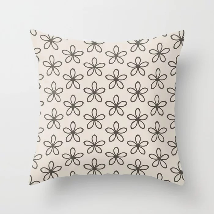 Brown and Cream Minimal Flower Pattern Throw Pillows match and coordinate with Sherwin Williams Paints 2021 Color of the Year Urbane Bronze and Shoji White