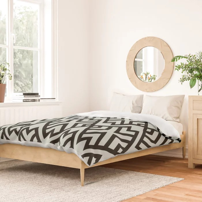 Pastel Green and Black Shape Tile Pattern Pairs Behr 2022 Color of the Year Breezeway MQ3-21 Duvet Cover. 2022 color trend