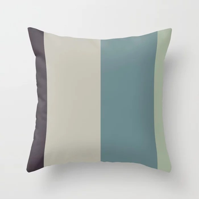 Blue-Green Tan Green Purple Bold Line Pattern Color of the Year Aegean Teal 2136-40 and Accents Throw Pillow