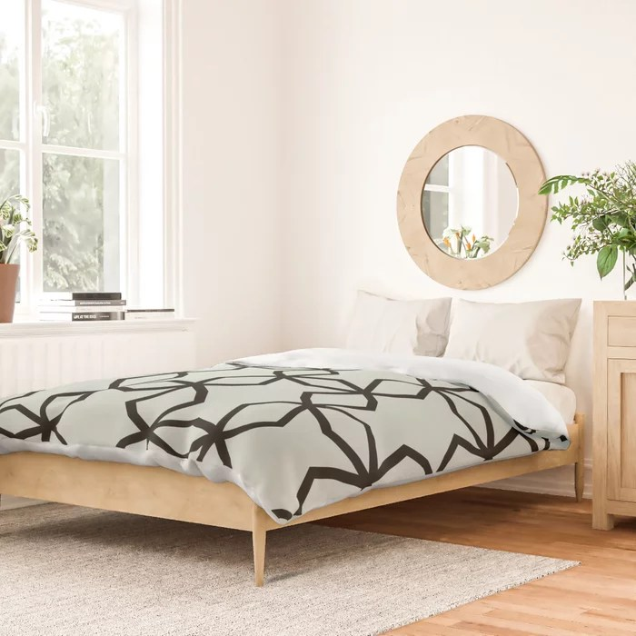 Pastel Green and Black Shape Mosaic Pattern Pairs Behr 2022 Color of the Year Breezeway MQ3-21 Duvet Cover. 2022 trending colors