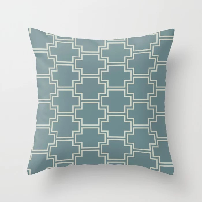 Blue-Green Beige Line Pattern 2 Ornamental Box V2 2021 Color of the Year Aegean Teal Sweet Spring Throw Pillow