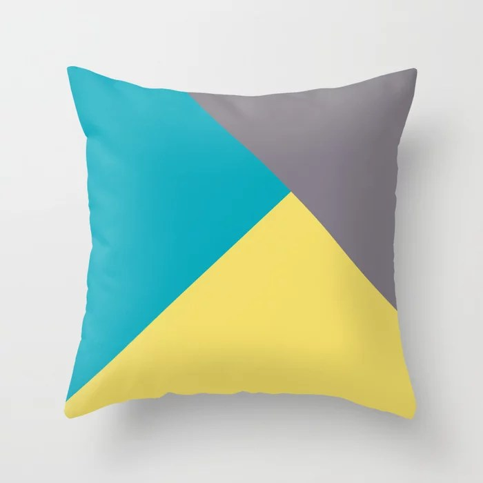 Blue-Green Yellow Gray Abstract Pattern 2021 Color of the Year AI Aqua 098-59-30 Throw Pillow
