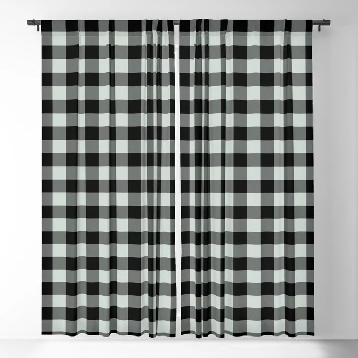 Pastel Green and Black Plaid Checkerboard Pattern Pairs Behr 2022 Color of the Year Breezeway MQ3-21 Blackout Curtain. Decorating colors for 2022