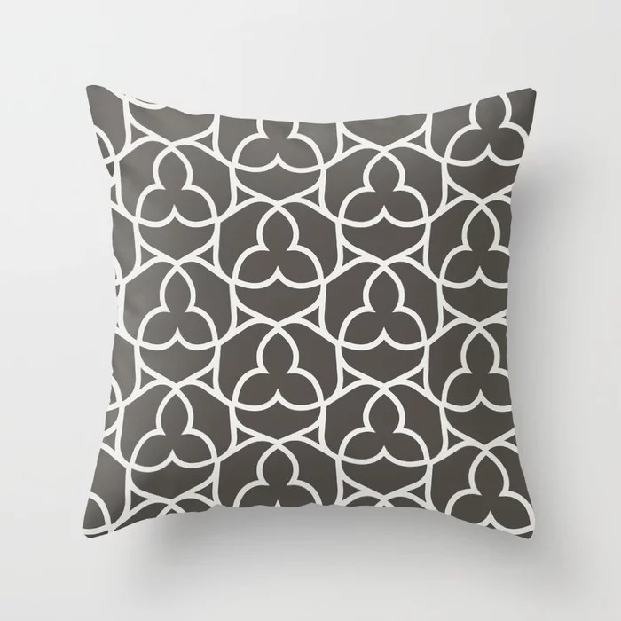 Brown and White Ornamental Shape Pattern 2 2021 Color of the Year Urbane Bronze and Extra White Throw Pillow