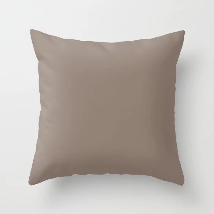 Mid-tone Brown Solid Color Behr 2021 Color of the Year Accent Shade Bridle Leather N180-5 Throw Pillow