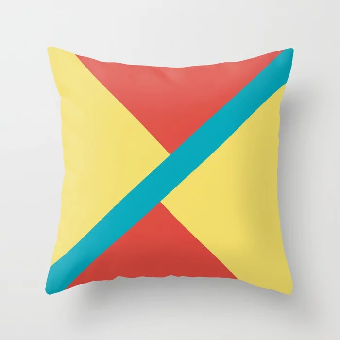 Blue-Green Yellow Red Diagonal Shape Pattern 2021 Color of the Year AI Aqua 098-59-30 Throw Pillow