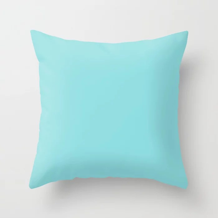 Bright Pastel Baby Blue Solid Color Pairs HGTV 2021 Color Of The Year Accent Shade Breezy Aqua Throw Pillow