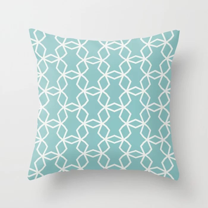 Aquamarine Geometric Mosaic Pattern V2 2021 Color of the Year Aqua Fiesta and Delicate White Throw Pillow