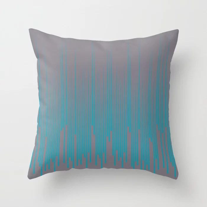 Aqua Blue and Gray Frequency Line Art Pattern 2021 Color of the Year AI Aqua and Good Gray Throw Pillow