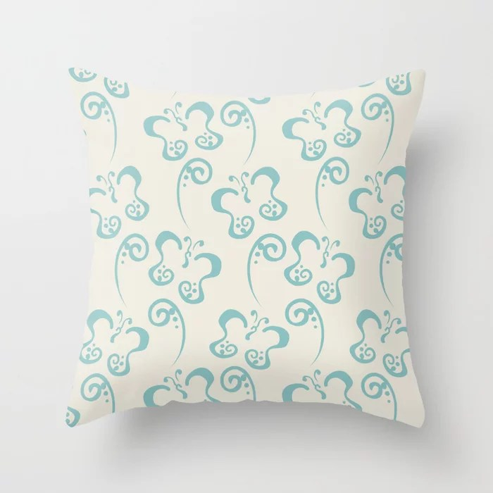 Aquamarine Cream Butterfly and Scroll Pattern 2021 Color of the Year Aqua Fiesta and Horseradish Throw Pillow