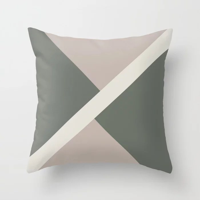 Green Beige Off-White Stripe Offset Pattern 2021 Color of the Year Contemplative and Accent Shades Throw Pillow
