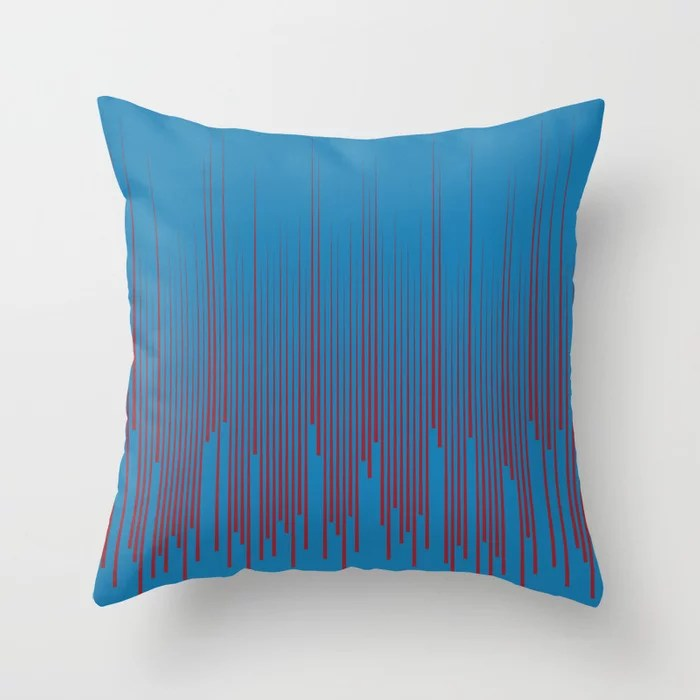 Red and Blue Minimal Frequency Line Art Pattern 2021 Color of the Year Satin Paprika Satin Lagoon Throw Pillow