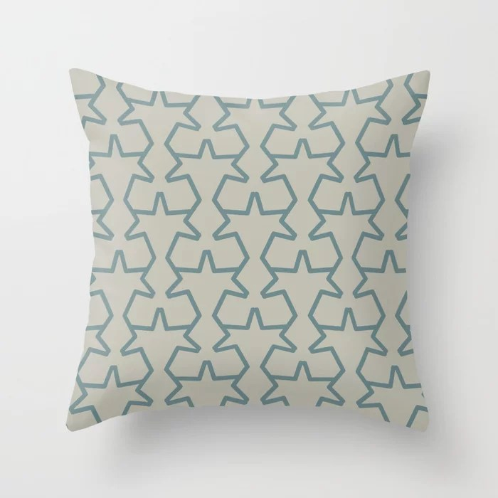 Aqua and Tan Geometric Tessellation Pattern 15 2021 Color of the Year Aegean Teal and Winterwood Throw Pillow