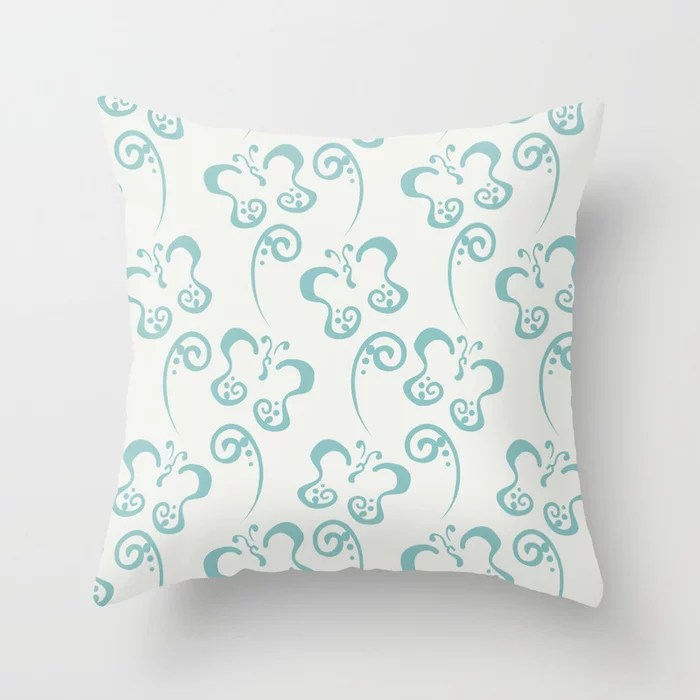 Aquamarine Butterfly and Scroll Pattern 2021 Color of the Year Aqua Fiesta and Delicate White Throw Pillow