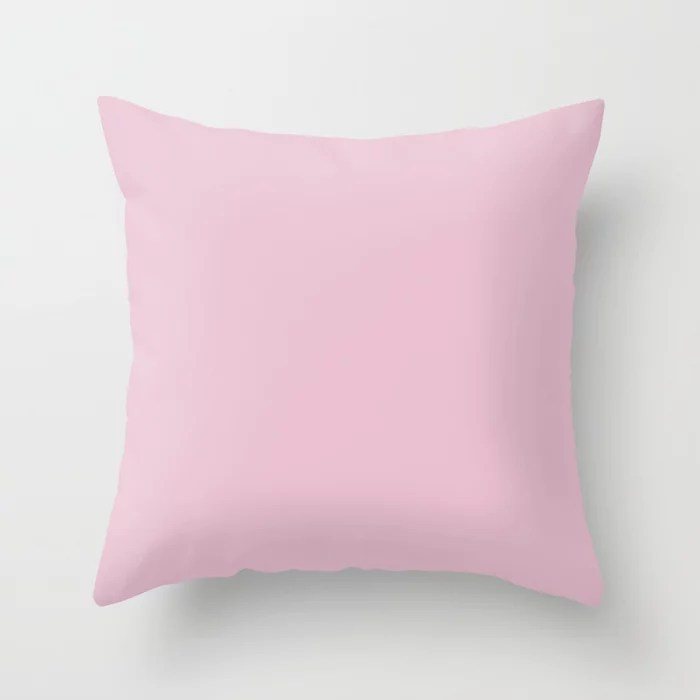 Otherworldly Pink - Pastel Pink Solid Color Matches Sherwin Williams  Childlike SW 6569 Throw Pillow