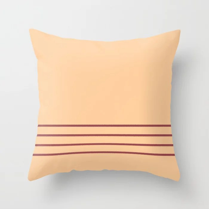 Red and Peach Minimal Thin Line Pattern 2021 Color of the Year Passionate and Pale Apricot Throw Pillow