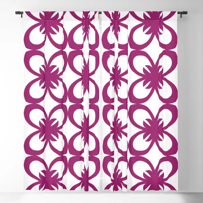Magenta and White Minimal Floral Flower Pattern - Colour of the Year 2022 Orchid Flower 150-38-31 Blackout Curtain - 2022 color trends interior design